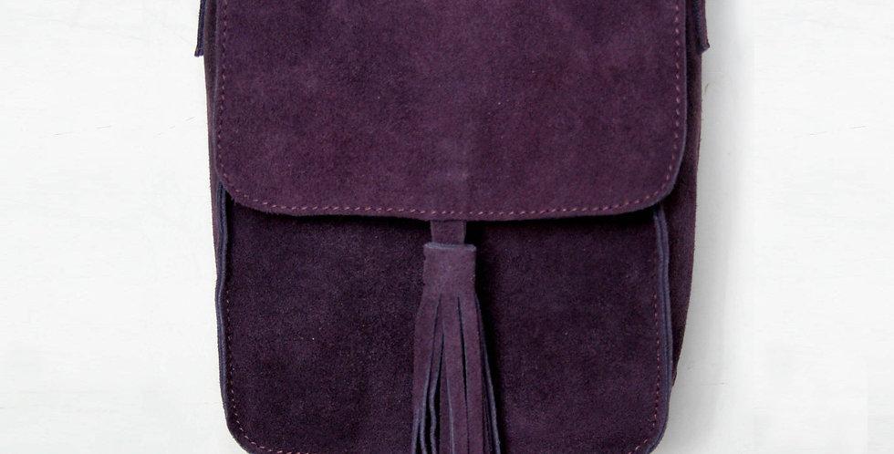 Sac bandoulière en cuir façon daim violet améthyste