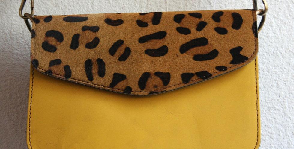 Sac à main léopard et cuir jaune