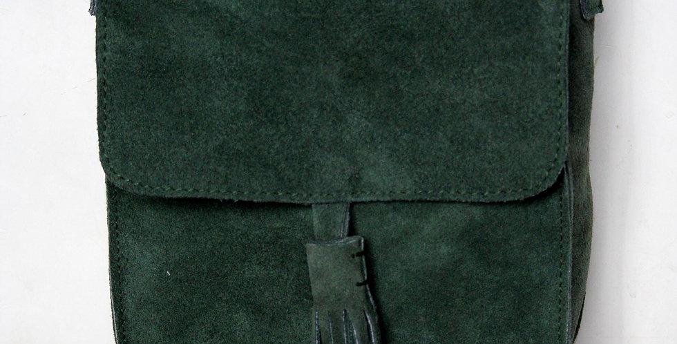 Sac bandoulière en cuir façon daim vert sapin