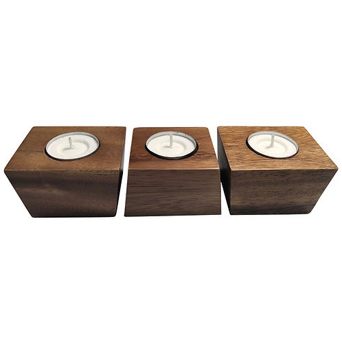 Island Vibes Wooden Tea-light Candle Holders (Set)
