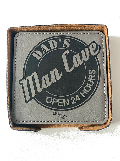 Dad Cave Leather Coaster Set