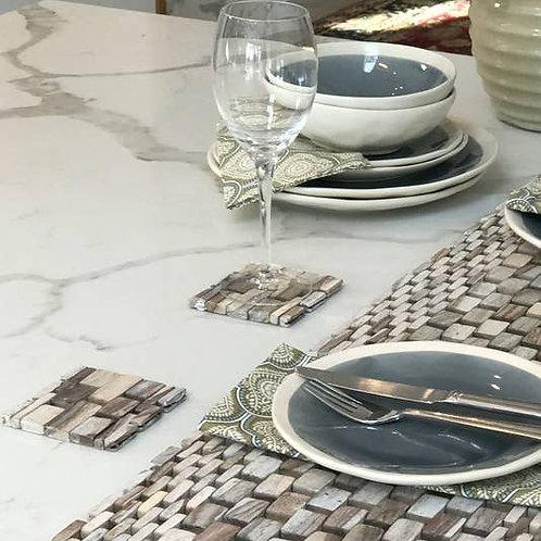 Island Vibes White Rosewood Coasters