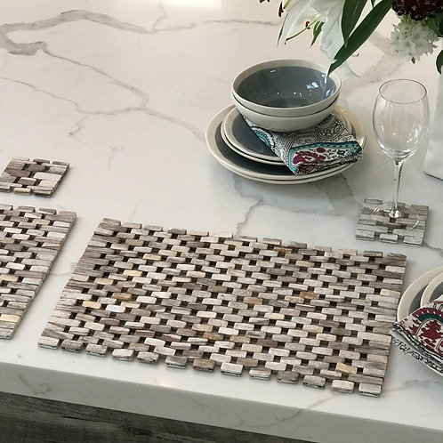 Island Vibes White Rosewood Table Mats