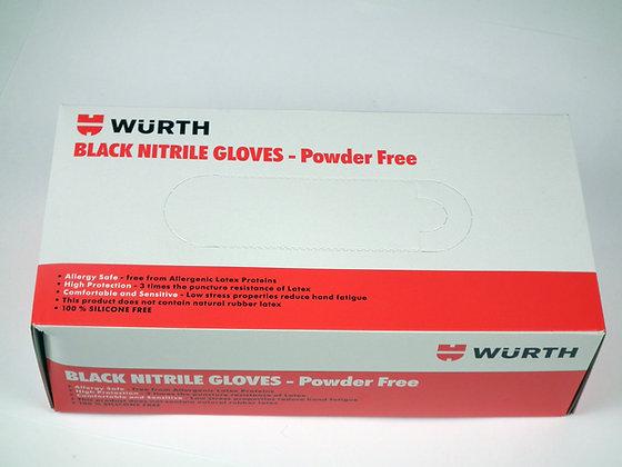Wurth Powder Free Box of 100 Black Nitrile Gloves