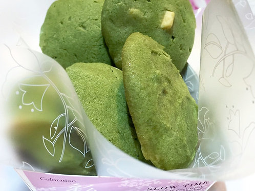 White Chocolate Organic Matcha Cookies with Almonds or Hazelnuts