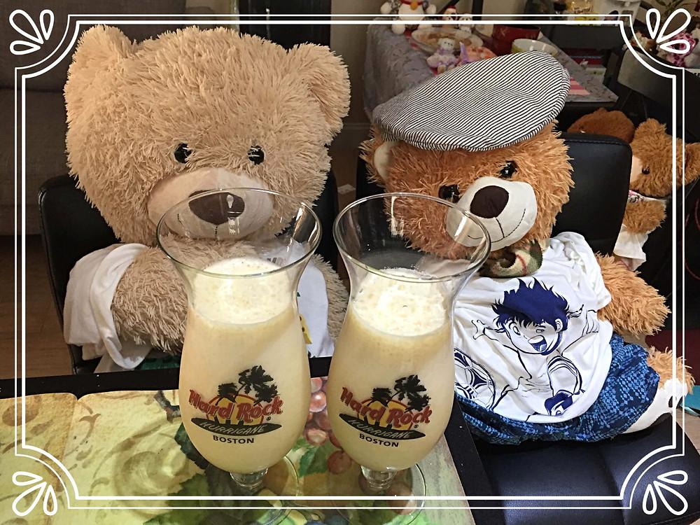 Mr.Spongy and Junior with Mango milk juice