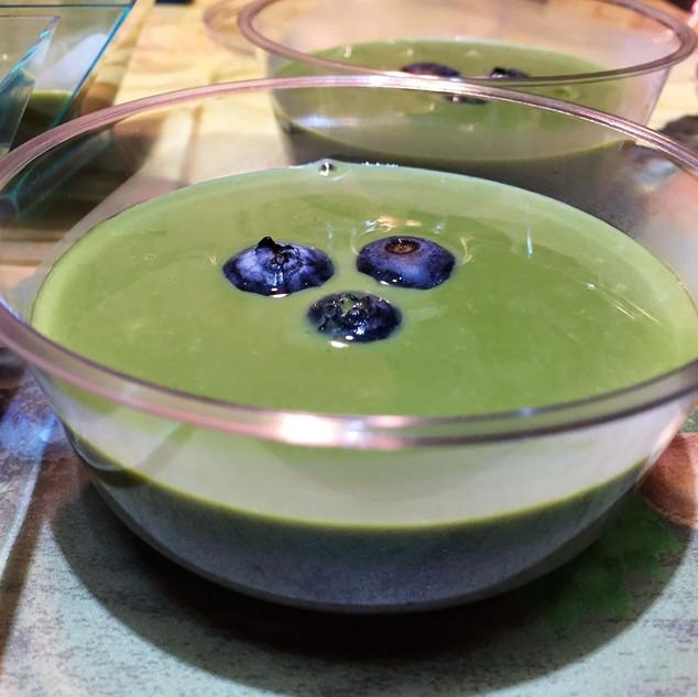 Matcha sesame pudding