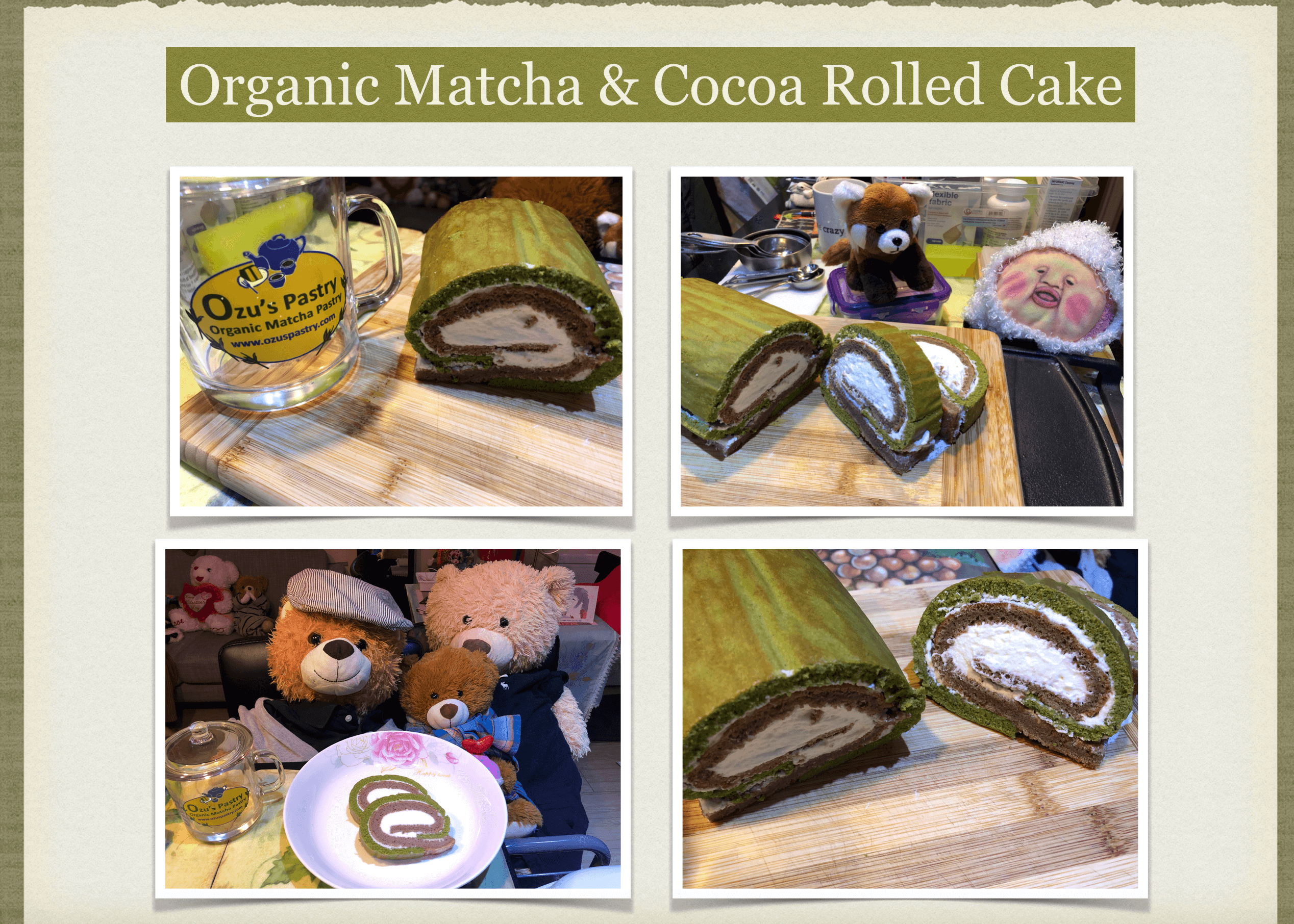 Matcha and Cocoa Rolled Cake