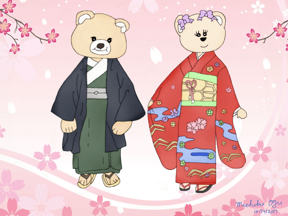 Kimono bears with Cherry blossom