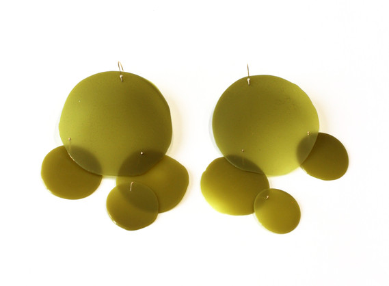 Jade Green & Gold #4 金缕玉衣耳环4