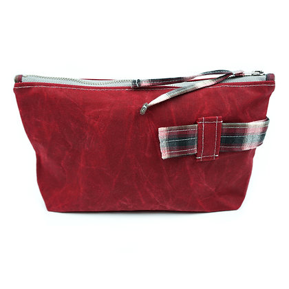 check the red - Cosmetic Bag/ Make Up Bag/ Pencil Case (recycled/ organic fabric