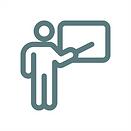 Ein Icon welches einen Lehrer an einer Tafel zeigt.