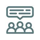 Ein Icon welches mehrere sprechende Personen zeigt.