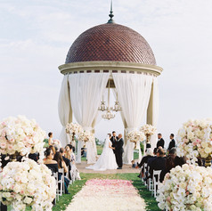 Outside Drapping and Flowers Alter of Wedding Decorations in Los Angeles County Call 949-374-7258