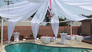 Poolside and swagging for your event. Call us: 949.374.7258