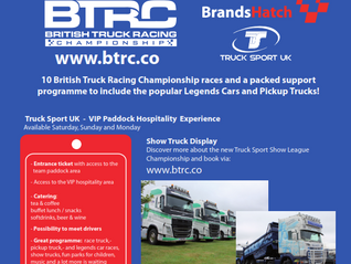 10 British Truck Racing Championship races and a packed support programme to include the popular Leg