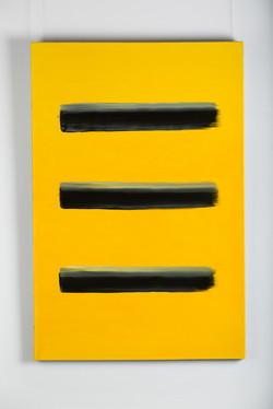 Black brush on yellow