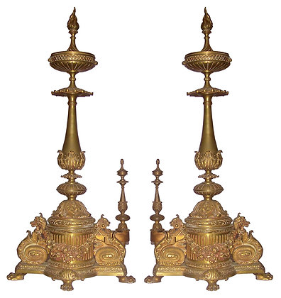 French Ornate Brass Flame Topped