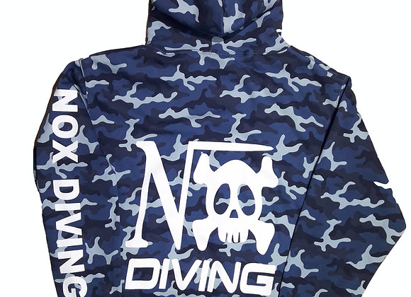 """Sweat à capuche Camo bleu impression """"Nox diving"""" coeur dos et manche"""