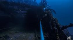 Arrière de l'épave du Togo où il a été coupé en deux par une mine -56M