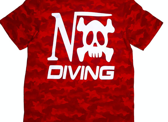 "Tee-shirt Camo rouge impression ""Nox Diving"" coeur et dos"