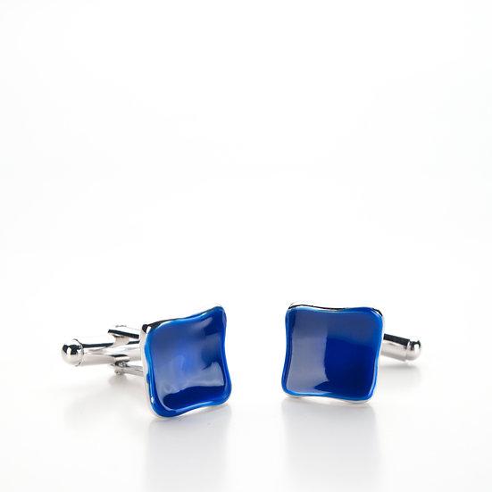 Gemelli quadratino blu, in argento e smalto