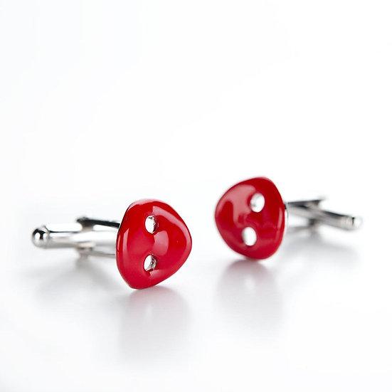 Gemelli bottone, in argento e smalto rosso