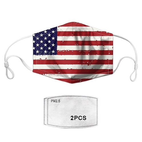 mask American flag + 2 PM2.5 filters