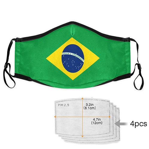 mask Brazil flag + 4 PM2.5 filters