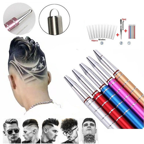1Pcs Hairstyle Engraved Pen+10Pcs Blades Professional