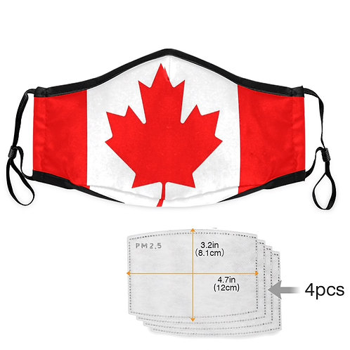 mask canada flag + 4 PM2.5 filters