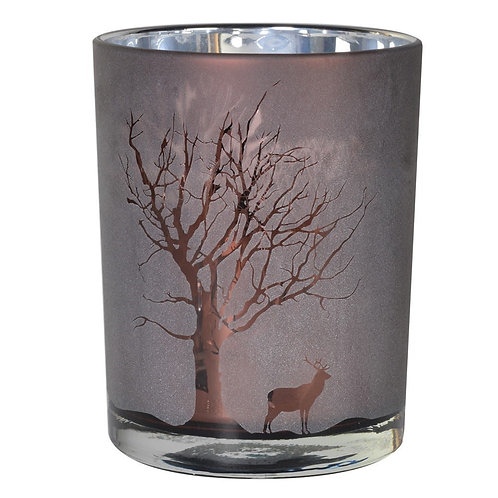 Large Frosted Candle Holder
