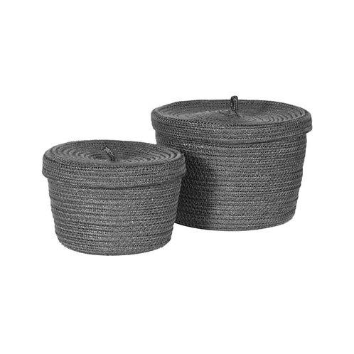 Set of 2 Grey Lidded Baskets