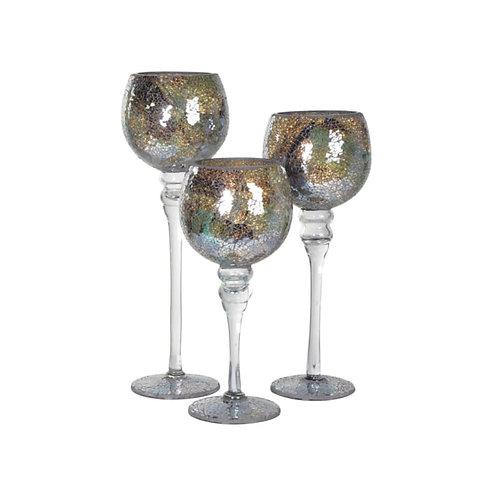 Set of 3 Glazed Candle Holders