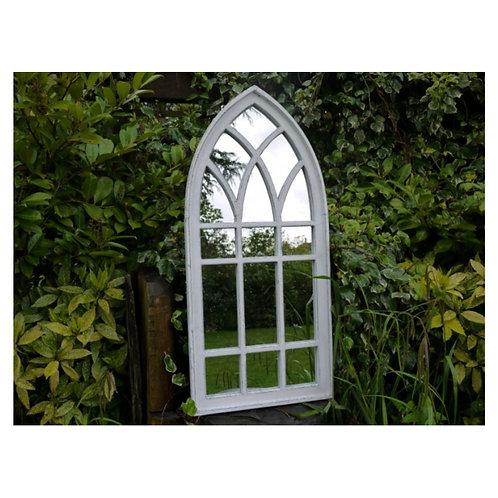 Large White Wash Arch Mirror