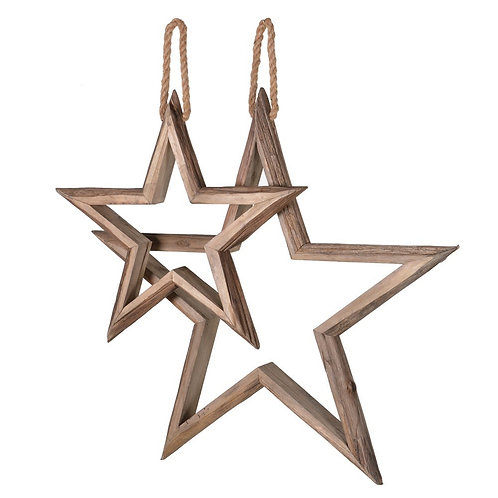 Set of 2 Wooden Stars