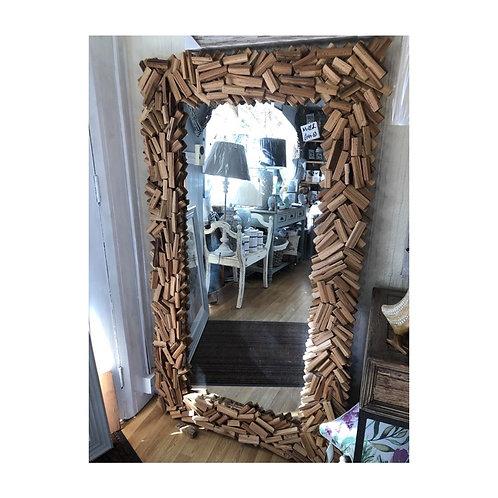 Large Wooden Strip Mirror