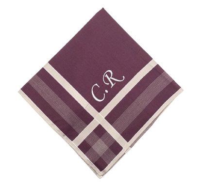 Mouchoir en tissu bordeaux - personnalisé
