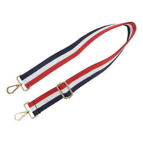Sangle de sac bleu blanc rouge de 68 à 124 cm