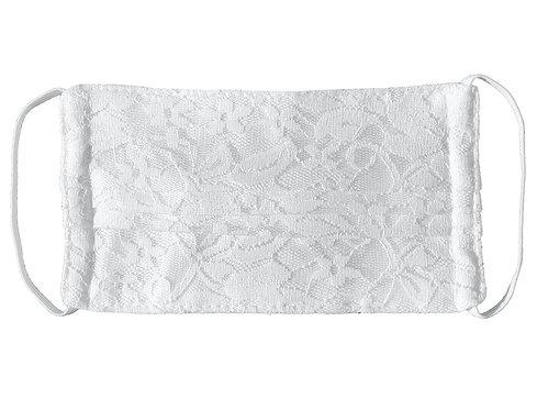 Masque Adulte en tissu blanc avec dentelle