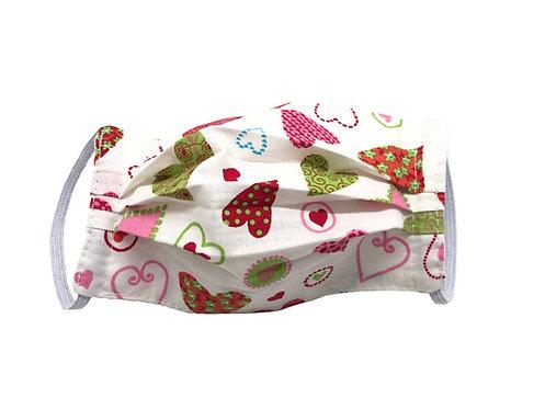Masque enfant en tissu lavable - Modèle Coeur