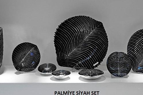 PALMİYE SİYAH GÜMÜŞ SET