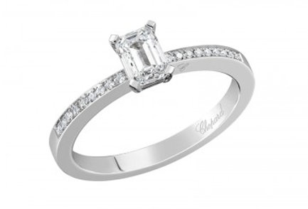 CHOPARD FOR EVER RING PAVÉ Emerald-Cut 0.5 ct.