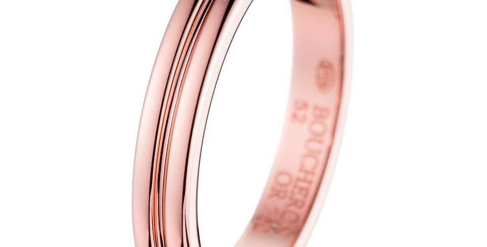 Boucheron Godron Pink Gold Small Wedding Band