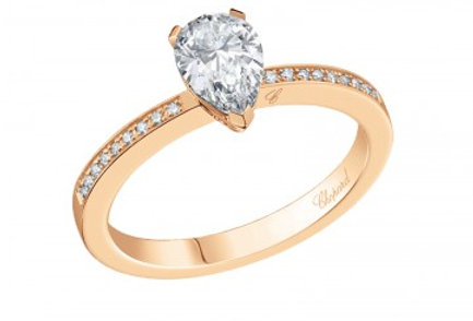 CHOPARD FOR EVER RING PAVÉ Pear Shape 0.7 ct.