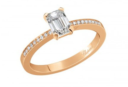 CHOPARD FOR EVER RING PAVÉ Emerald-Cut 0.7 ct.