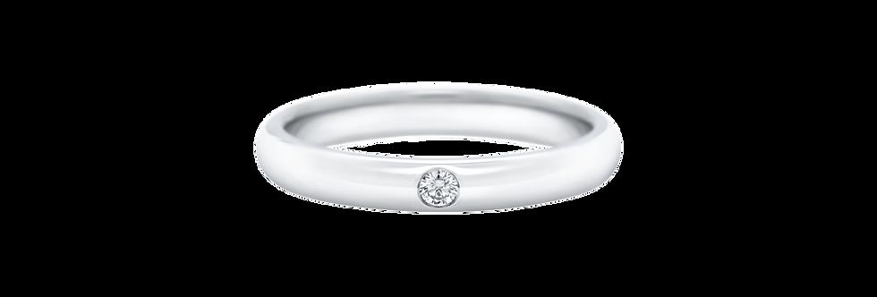 Round Brilliant Single Diamond Wedding Band