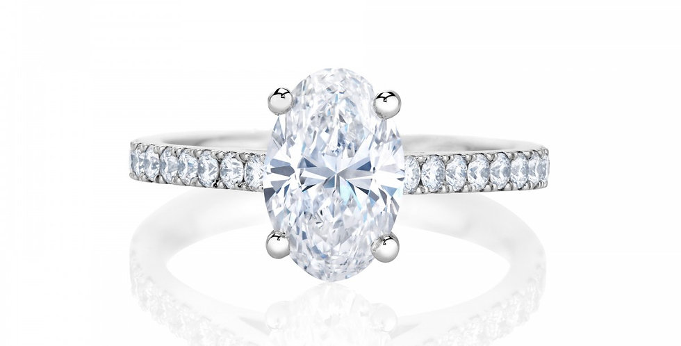 DB CLASSIC PAVÉ OVAL CUT SOLITAIRE RING