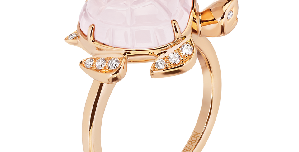 Boucheron Honu, The Turtle Ring, Pink Quartz