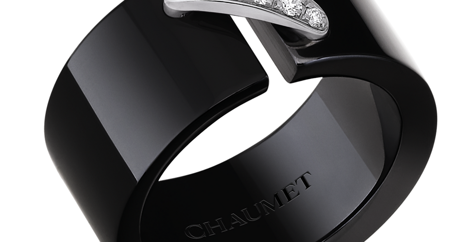 CHAUMET LIENS BLACK CERAMIC RING